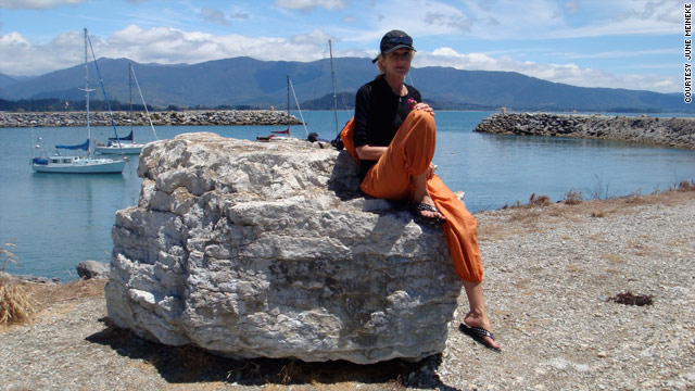 June Meineke relaxes in Pohara, New Zealand, at the end of her solo six-month trip around the world.