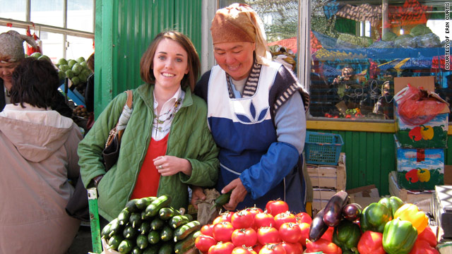 Returned Peace Corps volunteer Erin Curtis, left, shops for vegetables at a bazaar in Kazakhstan.