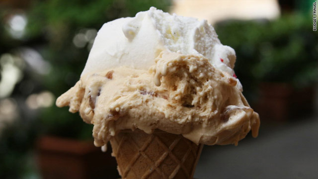 A cone from Ciampini is topped with candied chestnut and vanilla gelato.
