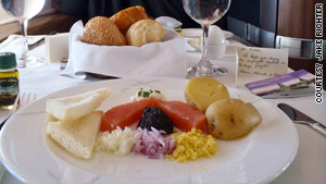 Jake Richter enjoyed salmon and caviar before his main course on a flight to Hong Kong, China.