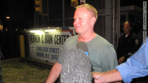Flight attendant Steven Slater leaves jail after posting bail on August 10 in Bronx, New York.