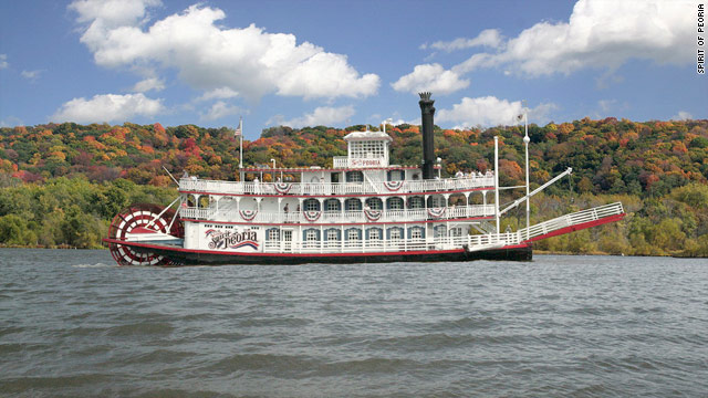 The Spirit of Peoria sails on the Illinois River. Fall foliage cruises are an alternative way to view changing scenery.