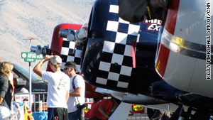 Fans check out the T6 Texans at the National Championship Air Races and Air Show on Saturday.