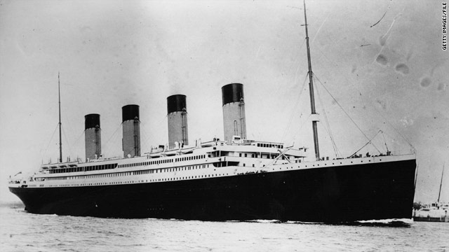 This 1912 photo shows the RMS Titanic, which struck an iceberg and sank on its maiden voyage across the Atlantic.