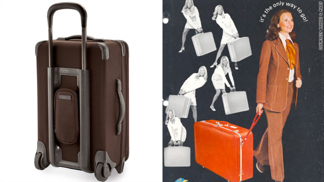 U.S. Luggage debuted its wheeled suitcase in 1970. A modern-day Briggs & Riley bag shows how luggage has evolved.