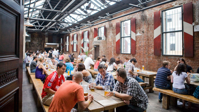Radegast's long benches and oval tables are a big draw to soccer fans and music lovers alike.
