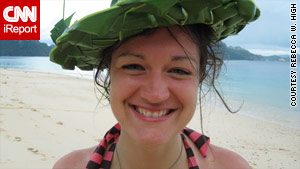 iReporter Rebecca High in Palawan, wearing a palm frond hat crafted by a local guide.