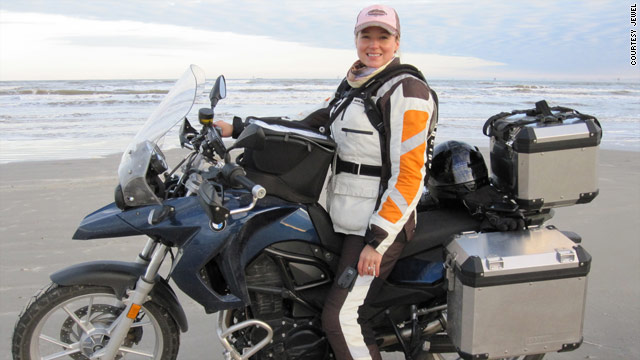 Jewel on her motorbike during a trip in Texas. The singer says riding is an adventure.
