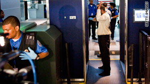 Sikh Americans object to hand searches of turbans despite the use of electronic body imaging, demonstrated here by TSA officers.