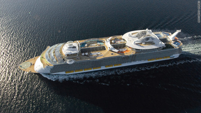 Royal Caribbean's newest ship, the Allure of the Seas, sails toward its home port in Florida.
