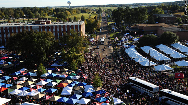 Mississippi State fans tailgate outside Davis Wade Stadium before their team takes on Florida in October 2009.
