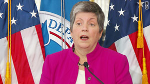 DHS chief Janet Napolitano urged travelers Monday to monitor their surroundings.