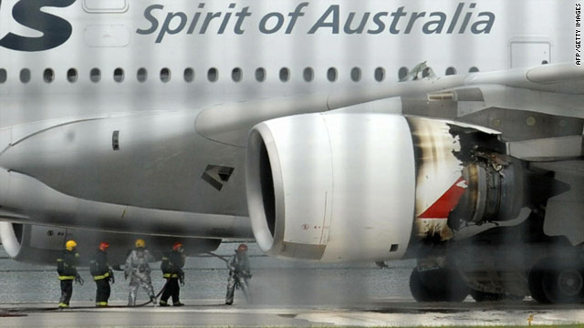 A file image from November 4, 2010, shows the burnt-out engine of a Qantas A380 at Changi International Airport in Singapore.