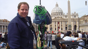 CNN's Todd Baxter at the Vatican just before Pope Benedict XVI was presented for the first time.