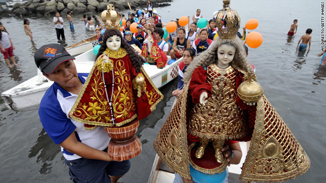 Statues of Santo Nino are carried on dragon boats in the Philippines. Many towns hold processions for Santo Nino in January.
