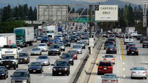Traffic backs up on a freeway near Los Angeles during the Thanksgiving holidays.