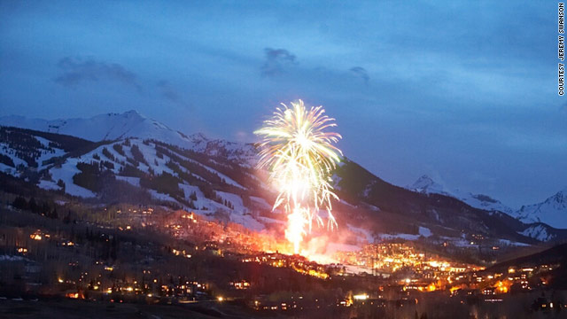 Fireworks light up Snowmass, Colorado, a winter wonderland for skiers and snowboarders.