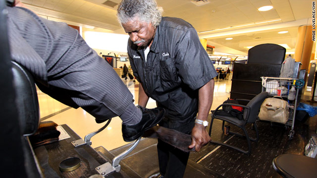 Charles Sanders has been polishing and buffing shoes at the Atlanta airport for 10 years.