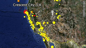 The quake ran about 10 miles deep in northern California, near Eureka.