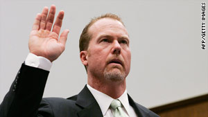 Former St. Louis Cardinal Mark McGwire appears at a House hearing on steroid use in March 2005.