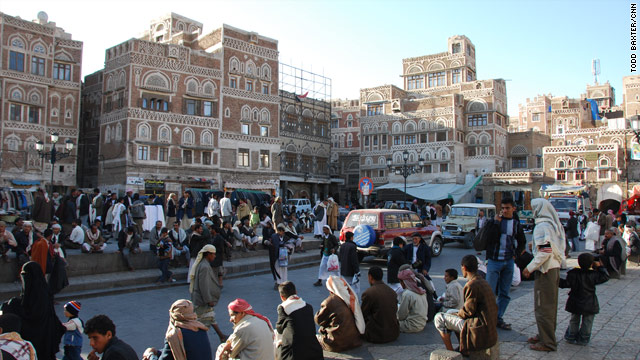 Locals go about their business in the old City of Sana'a, Yemen on January 7, 2010.