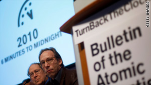 Members of the Bulletin of Atomic Scientists announce the adjustment of the 'Doomsday Clock' in New York on Thursday.