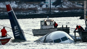U.S. Airways Flight 1549 landed in the Hudson River after a bird strike disabled its engines.