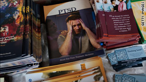 Pamphlets about post-traumatic stress disorder on a table last month at New York's Fort Hamilton Army Garrison.