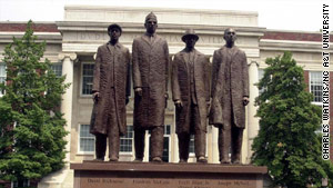 A monument to the Greensboro Four, aka the A&T Four, stands at North Carolina A&T University.