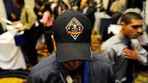 A former Marine attends a job fair in Los Angeles, California, that focused on jobs for veterans.