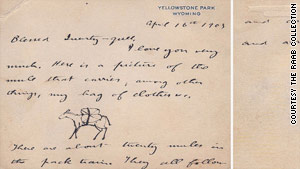 """Here is a picture of the mule that carries, among other things, my bag of clothes,"" Roosevelt wrote his son."