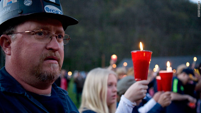 Miner Kevin Honaker attends a candlelight vigil Saturday in Montcoal, West Virginia, to honor 29 miners killed in Monday's blast.