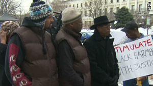 Black farmers rallied outside the U.S. Department of Agriculture building in Washington, D.C. on February 15.