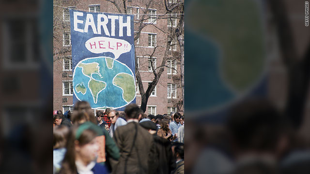 A crowd gathers at a rally in New York on the first Earth Day in 1970.