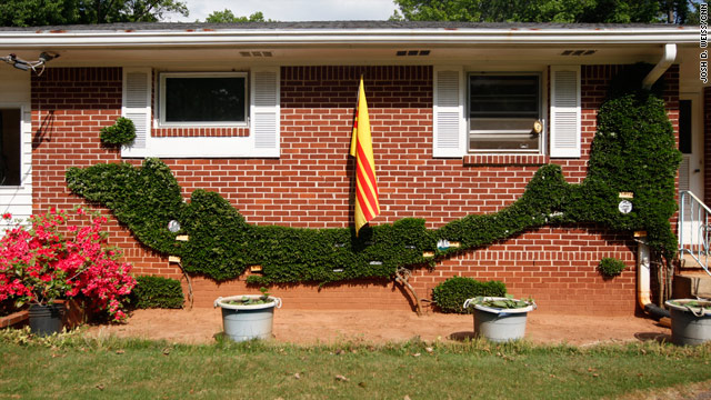 Hong Nguyen turned the front of his Decatur, Georgia, home into a living map of Vietnam, where he fought in the army.