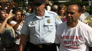 U.S. Rep. Luis Gutierrez, D-Illinois, is arrested outside the  White House during a protest Saturday.