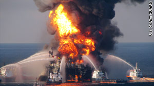 Witnessess reported liquid spurting from the well in the hour before the Deepwater Horizon explosion on April 20.