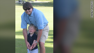 In one of the last pictures taken of Gordon Jones, he was giving his 2-year-old son, Stafford, his first golf lesson.