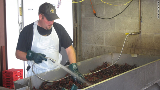 Crawfish get a good rinsing at Merlin Schaefer's seafood business in New Orleans, Louisiana.