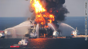 Fire boats battle a blaze at the Deepwater Horizon rig on April 21 in the Gulf of Mexico before it sank.