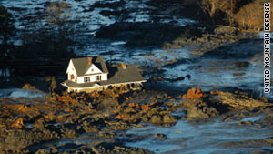Three homes, including this one, were swept off their foundations in the coal ash spill.