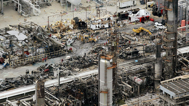 The aftermath of the 2005 BP refinery explosion in Texas City, outside of Houston.  The blast killed 15 BP contractors.
