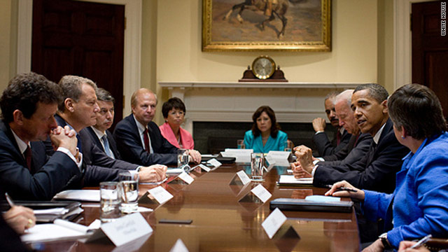 President Obama and Vice President Joe Biden meet Wednesday with BP execs in a photo released by the White House