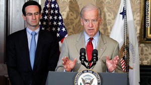 Vice President Biden discusses government waste and efficiencies Friday as budget czar Peter Orszag looks on.