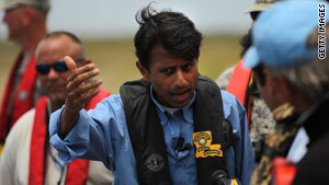Gov. Bobby Jindal on June 15 tours an area off Grand Isle, Louisiana, that was damaged by the oil spill.