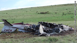 The Cessna 421 crashed in a field outside Alpine, Texas, on Monday morning.