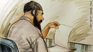 Sketch shows Ibrahim Ahmed Mahmoud al Qosi at a Guantanamo hearing.