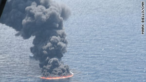 A controlled oil burn near the site of the Gulf of Mexico oil leak is done on the surface of the water Sunday.