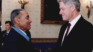 Vernon Baker, left, here with President Bill Clinton, earned a Medal of Honor for his actions during World War II.