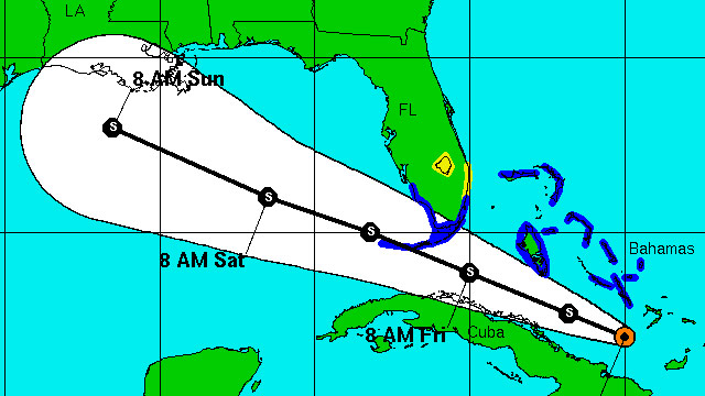 The National Oceanic and Atmospheric Administration shows the projected path of a tropical depression in the Gulf of Mexico.